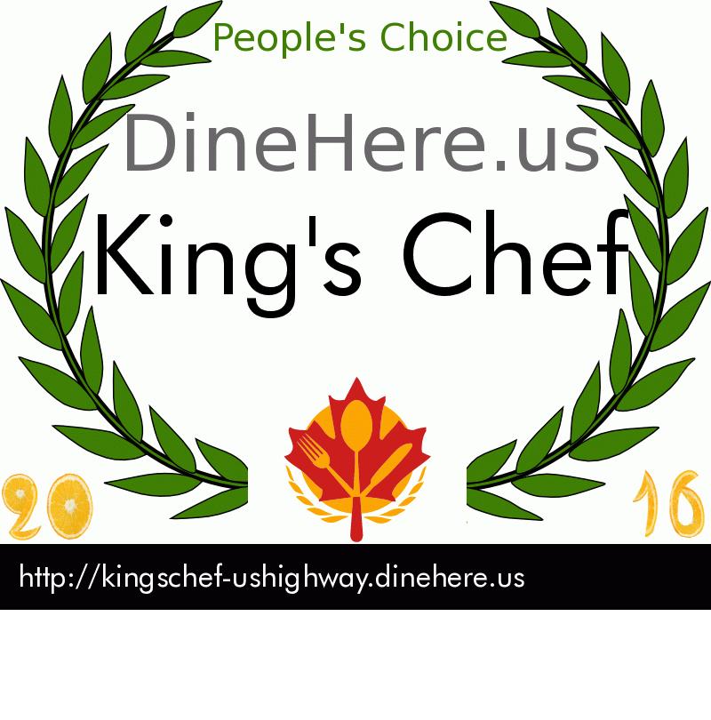 King's Chef DineHere.us 2016 Award Winner